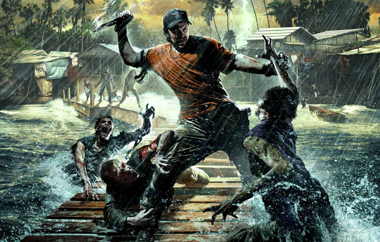 Photo wallpaper Water, Trees, Lightning, Knife, Palm trees, Weapons, Hut, Zombies, John, The situation, Deep Silver, Techland, …