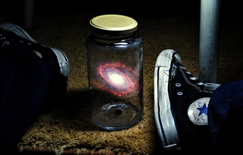 Photo wallpaper the universe, feet, galaxy, Bank, sneakers