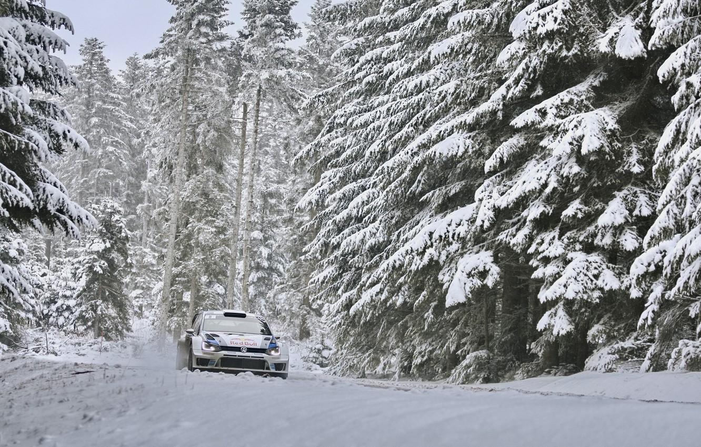 Photo wallpaper Winter, Forest, Volkswagen, Machine, WRC, Rally, Rides, Polo, Sebastien Ogier