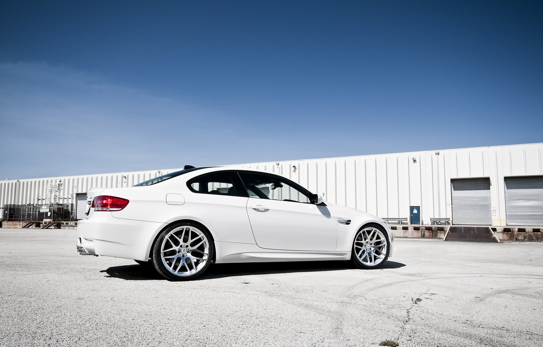 Photo wallpaper the sky, BMW, BMW, composition, white, white, E92, the rear part