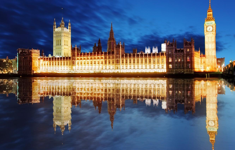 Photo wallpaper night, reflection, river, London