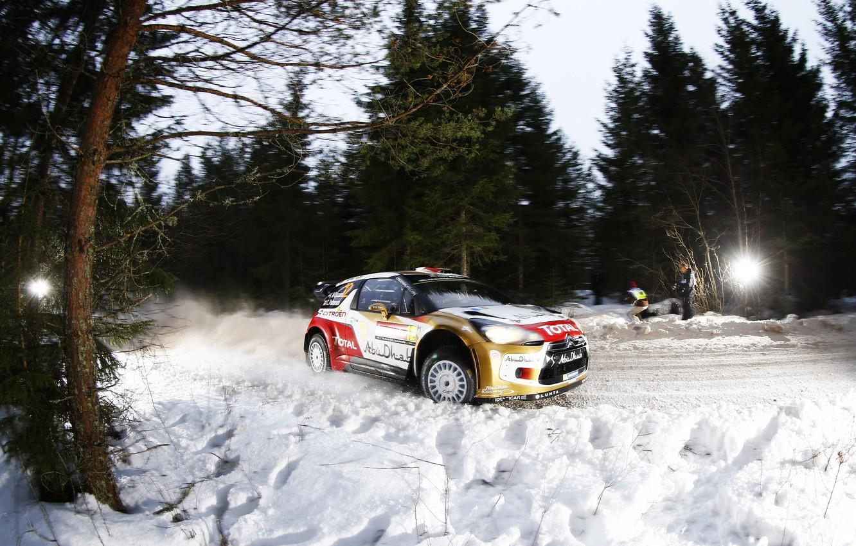 Photo wallpaper Winter, Night, Snow, Sport, Machine, Speed, Citroen, Citroen, DS3, WRC, Rally, Rally