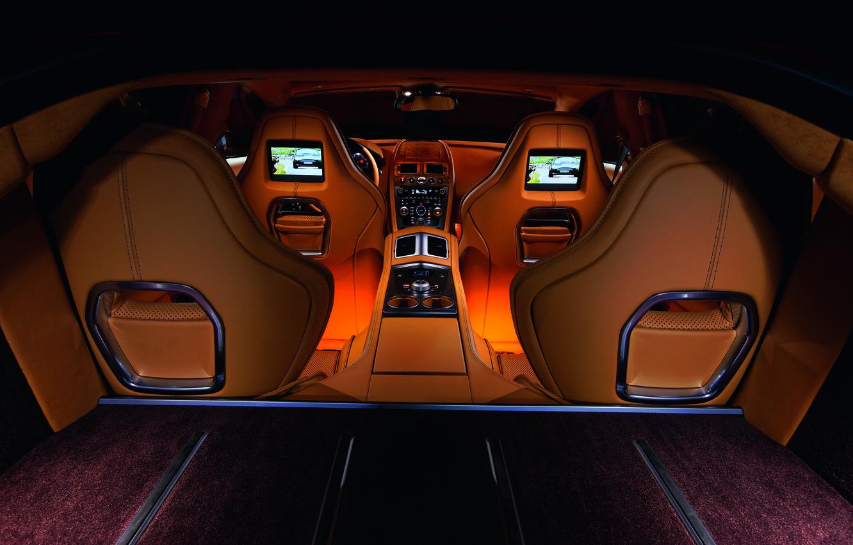 Photo wallpaper Aston Martin, Rapide, interior, leather, backlight, supercar, exclusive, four-door