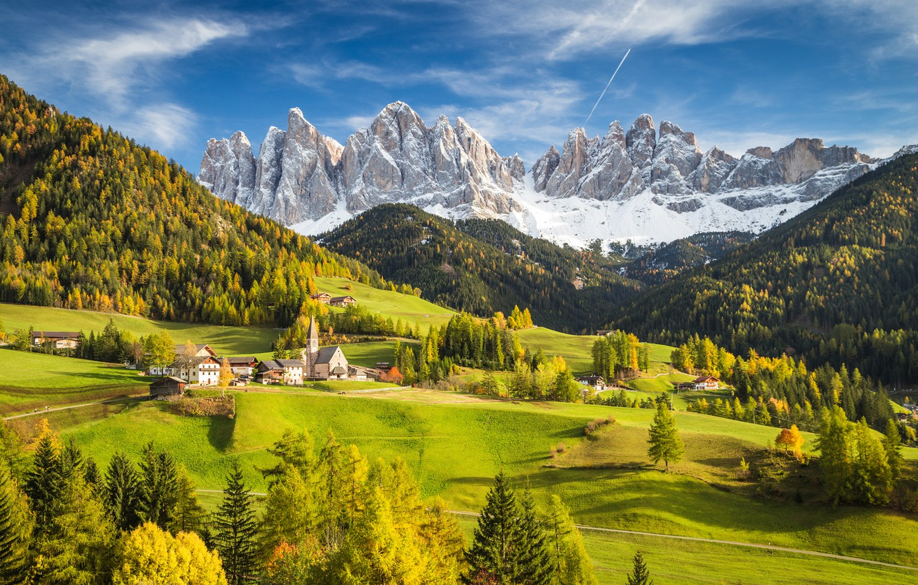 Photo wallpaper forest, the sky, clouds, mountains, valley, village, Alps, Italy