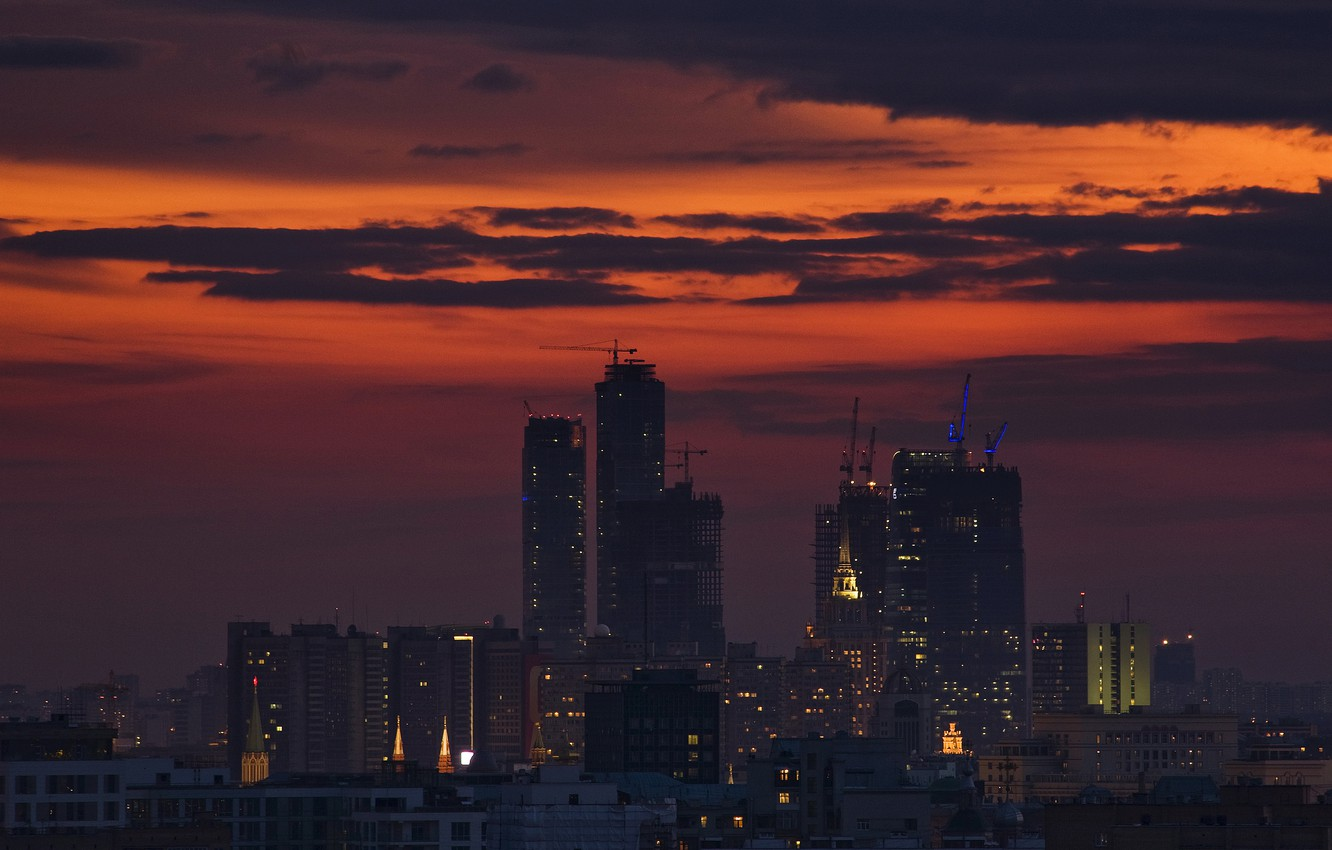 Photo wallpaper Clouds, The city, Wallpaper, Moscow, Building, The Urban Landscape