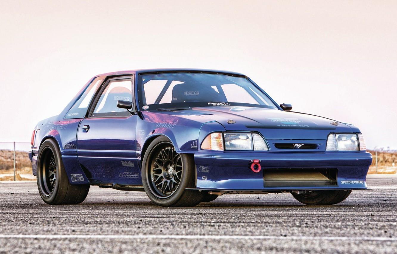 Photo wallpaper Mustang, Blue, Racing