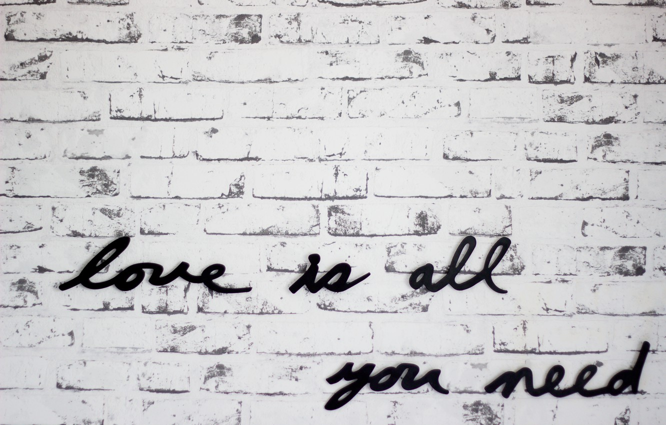 Photo wallpaper text, letters, wall, love is all you need