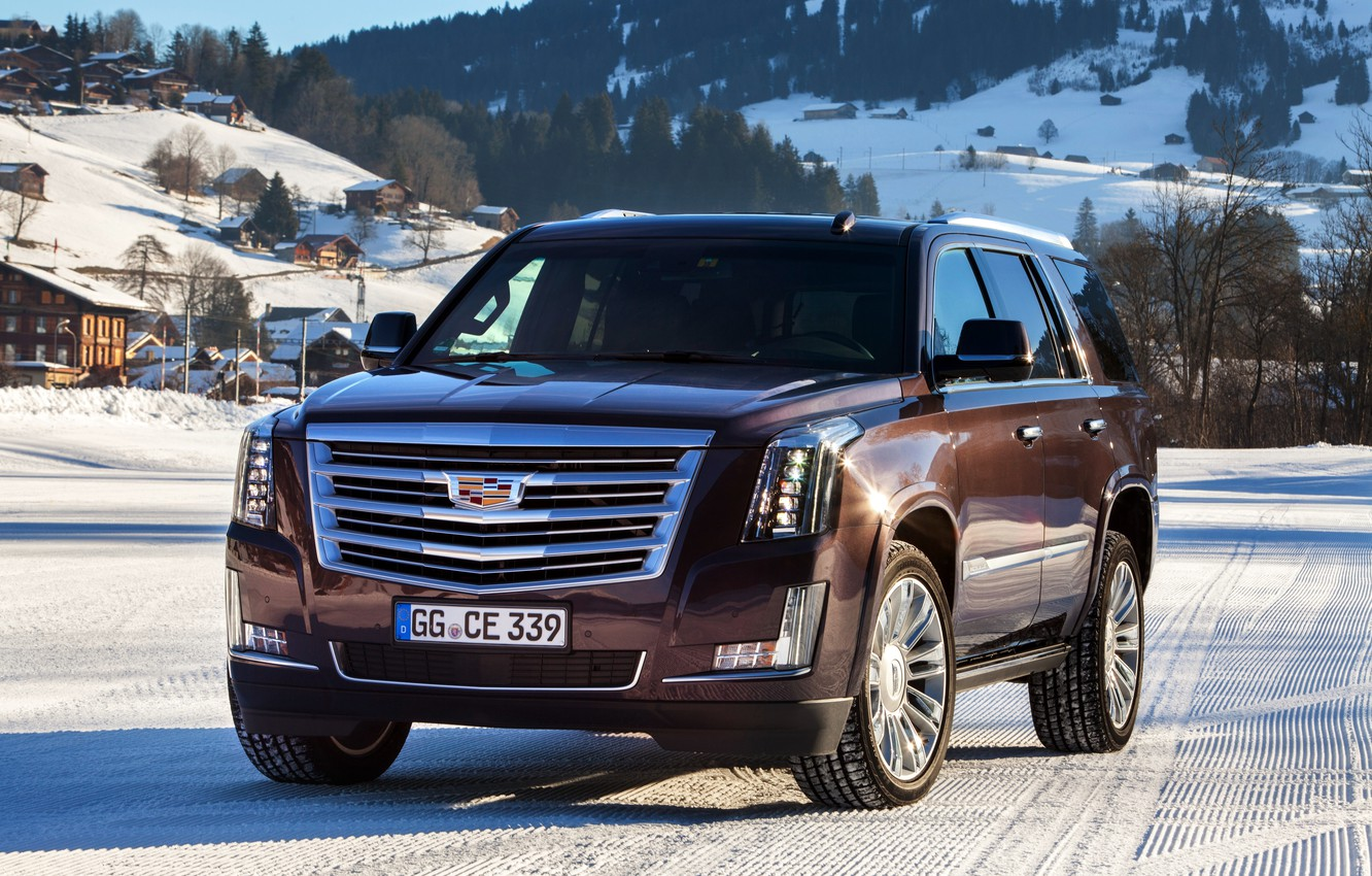 Photo wallpaper winter, snow, Cadillac, Escalade, Cadillac, 2015, EU-spec, Escalade