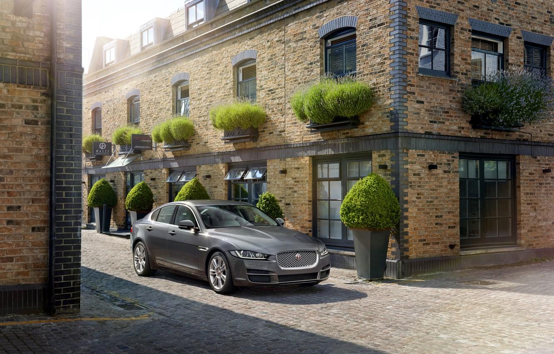 Photo wallpaper Jaguar, grey, street