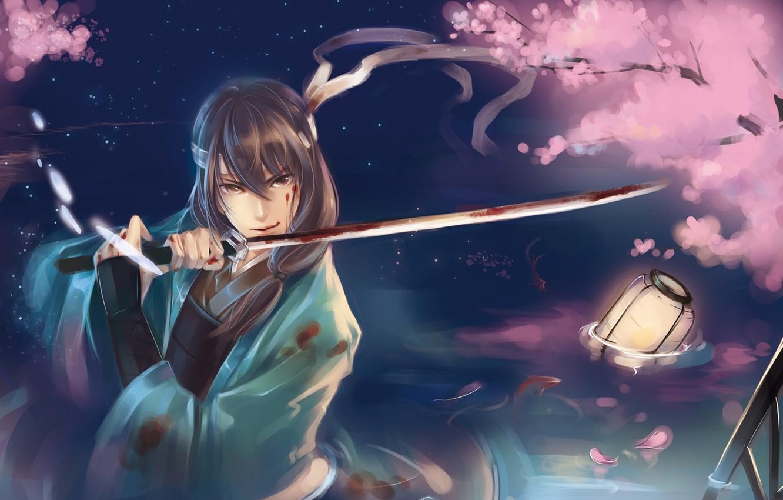Photo wallpaper water, fish, blood, sword, katana, petals, Sakura, art, samurai, lantern, guy, raku persimmon, gintama, katsura …