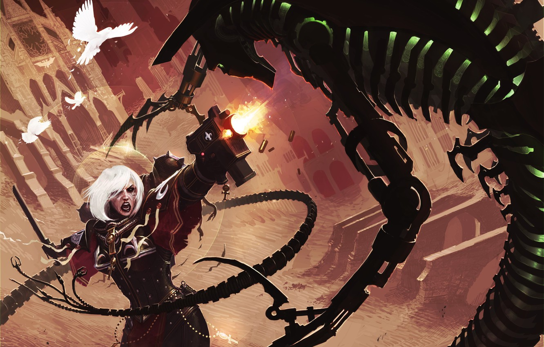 Photo wallpaper girl, birds, weapons, monster, art, battle, Necron, Warhammer 40 000, Sisters of Battle