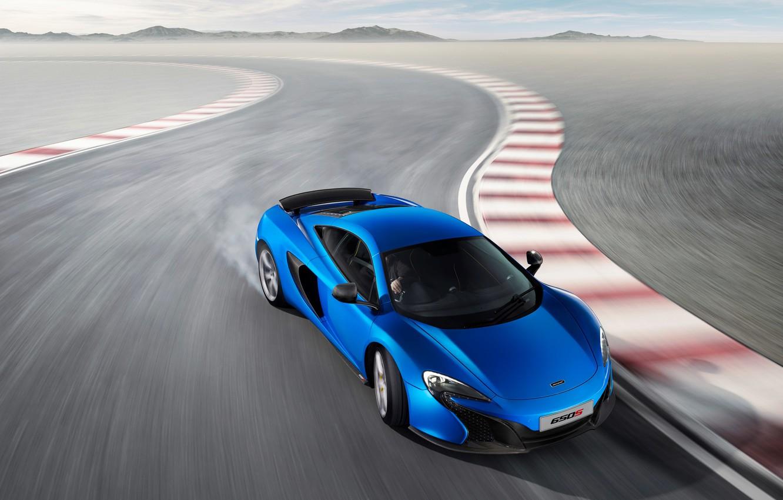 Photo wallpaper McLaren, Turn, Skid, Blue, Coupe, Supercar, Supercar, 2014, 650S