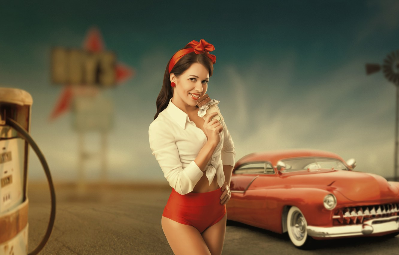 Photo wallpaper machine, girl, retro, body, chocolate, dressing, column, shirt, America, States, West, vintage, Texas, old, 1950