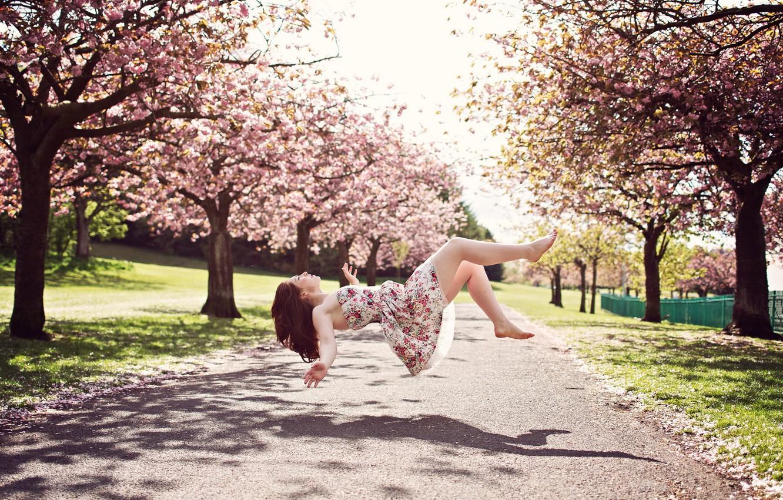 Photo wallpaper girl, mood, spring, levitation