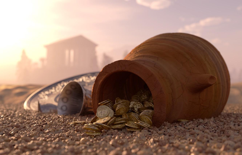 Photo wallpaper sand, pebbles, money, bowl, blur, coins, pitcher, gold, tray, bokeh, clay, silver, hidden, wallpaper., silver, …