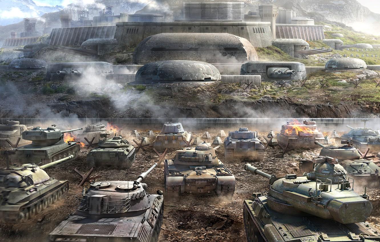 Photo wallpaper Mountains, Dust, Smoke, Tanks, WoT, Is-7, Tiger II, World of Tanks, World Of Tanks, Wargaming …