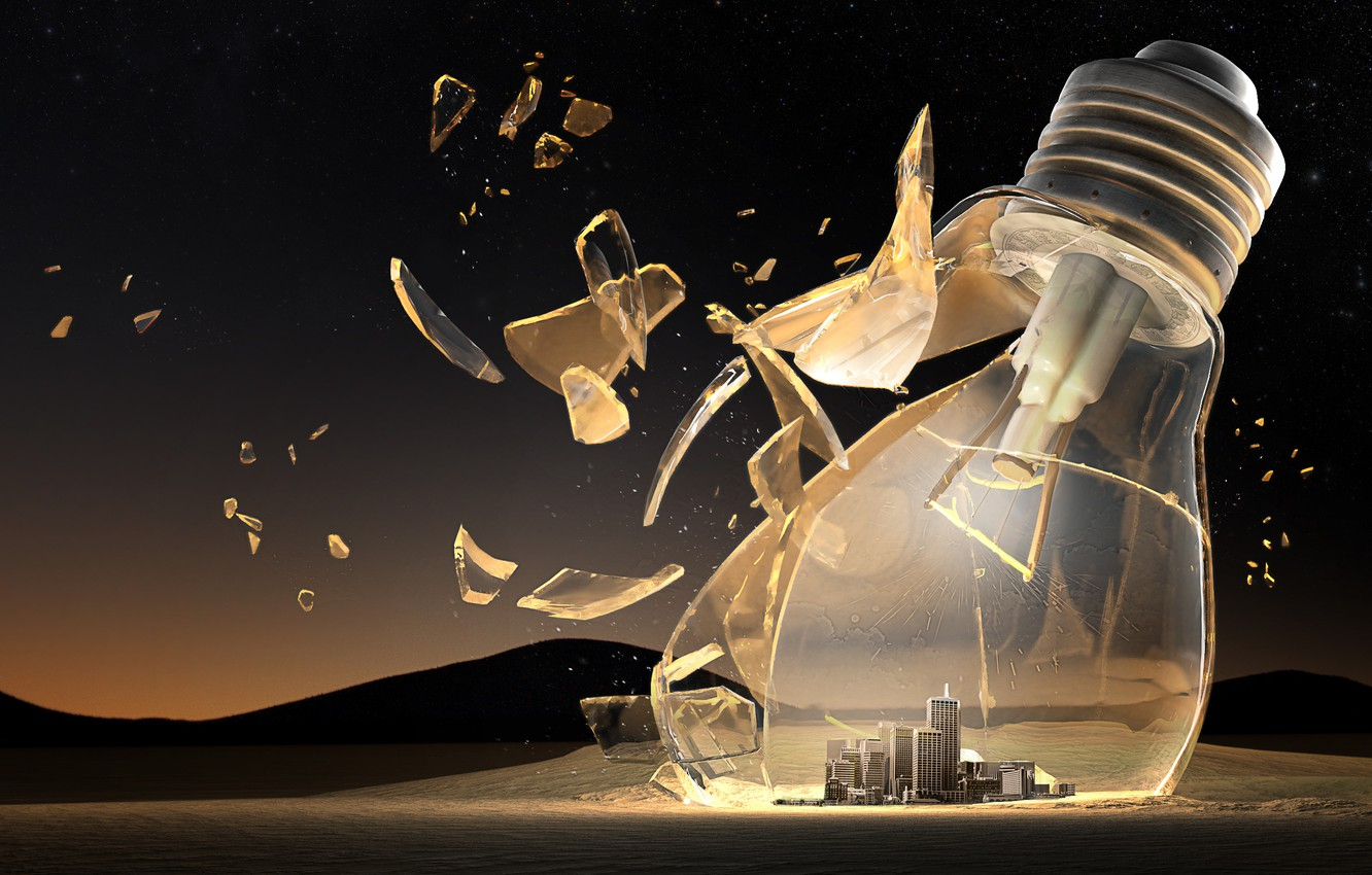 Photo wallpaper city, glass, light bulb