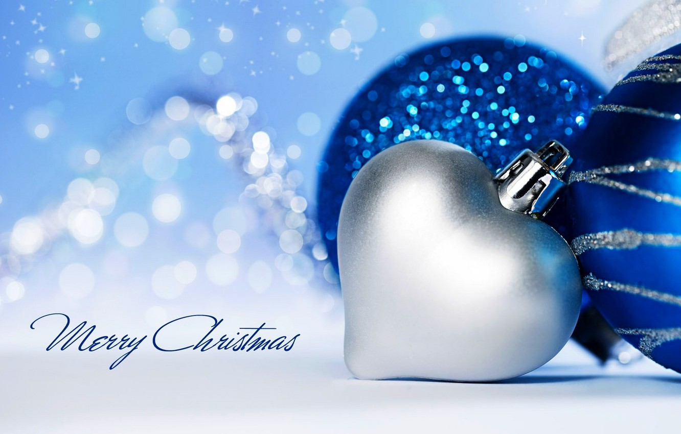 Wallpaper winter, snow, decoration, holiday, heart, Happy New Year ...