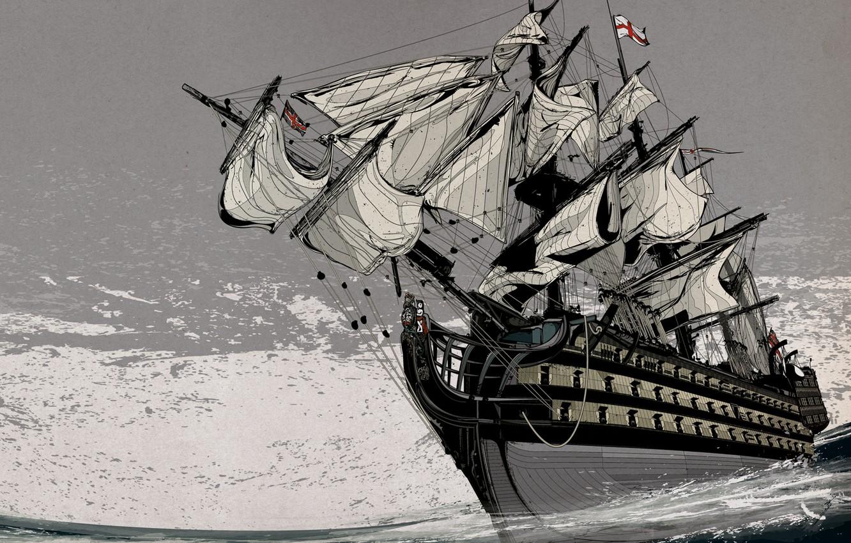 Photo wallpaper Sea, Ship, Sailboat, Grey
