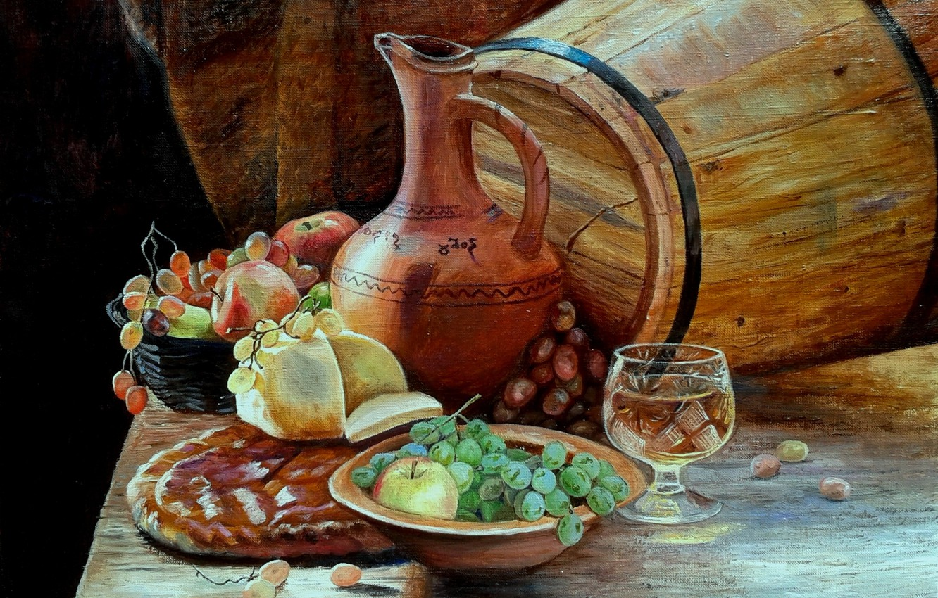 Photo wallpaper wine, figure, glass, food, picture, pitcher, fruit, painting, barrel, brandy, Lutsenko, still life with grapes