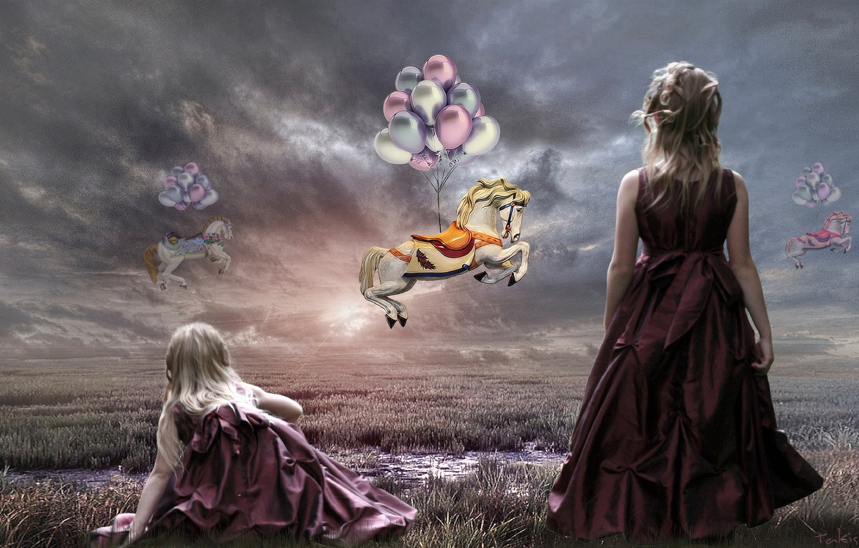 Photo wallpaper the sky, balls, horses, art, girl, Takis Poseidon