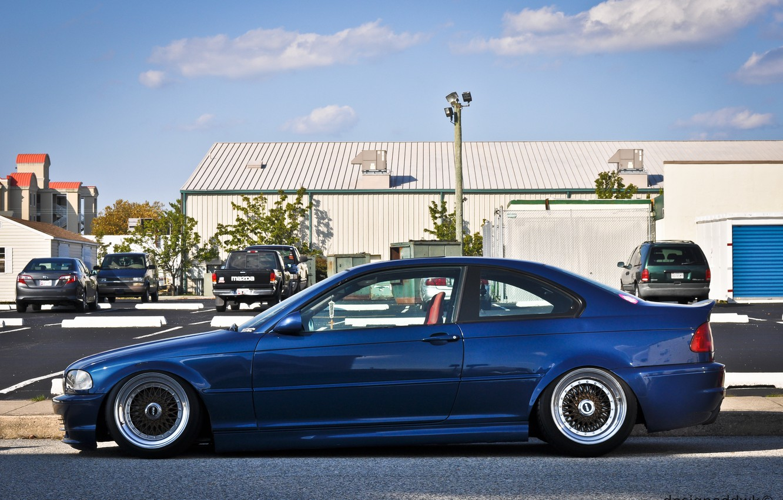 Photo wallpaper BMW, BMW, tuning, bbs, E46, stance, blue