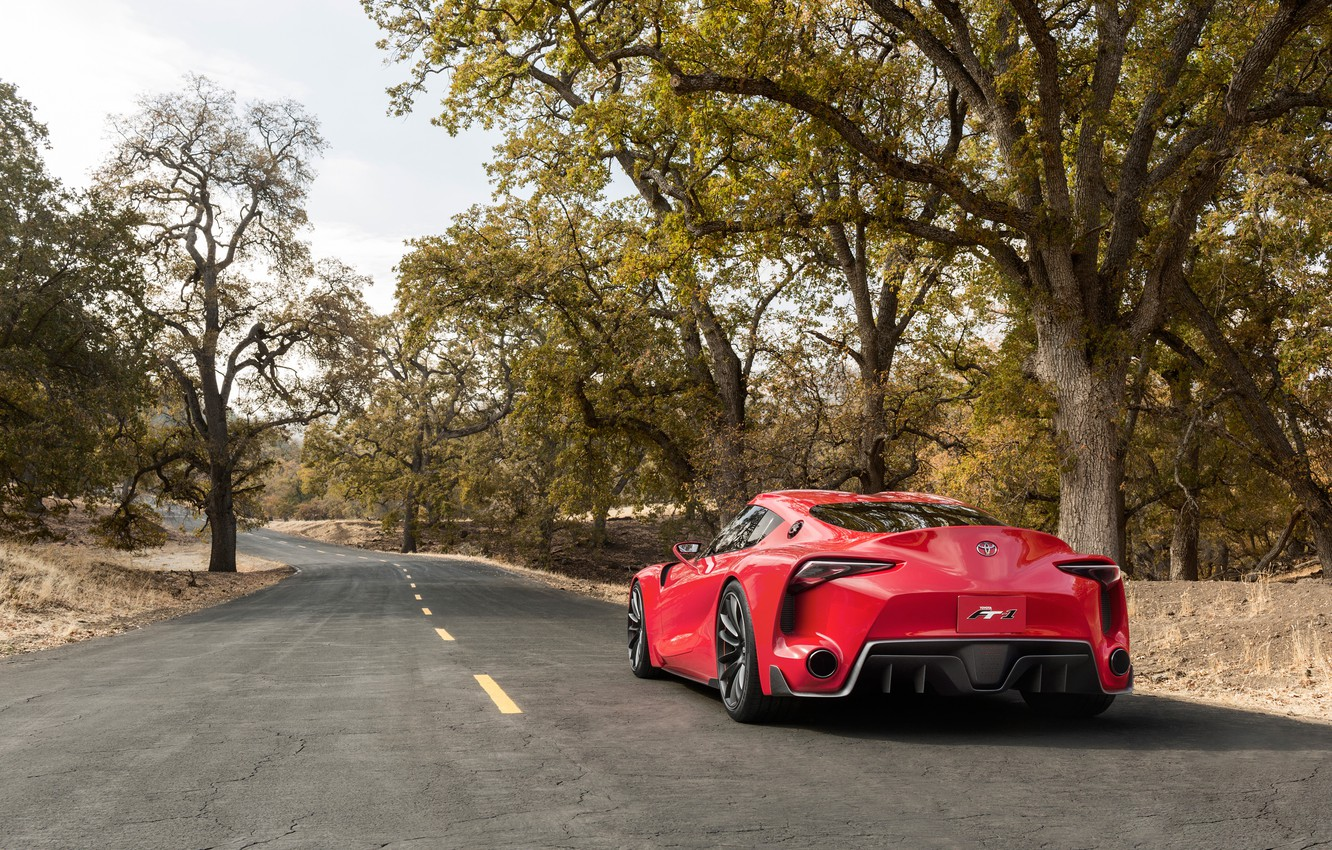 Photo wallpaper road, auto, Concept, trees, Wallpaper, Toyota, rear view, FT-1