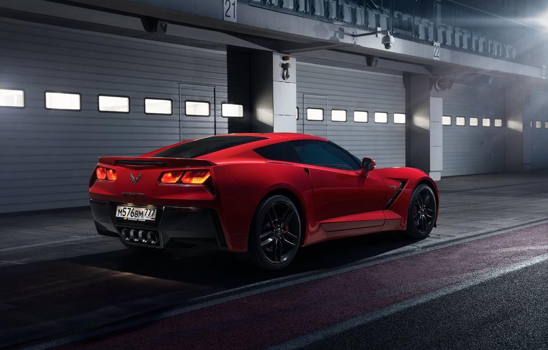 Photo wallpaper Corvette, Chevrolet, Red, Car, Sport, Stingray, Track, 2014, Rear