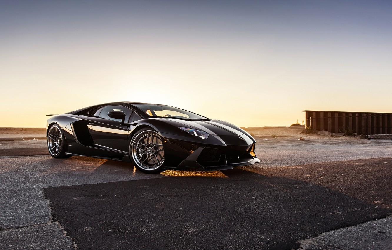 Photo wallpaper Lamborghini, Black, LP700-4, Aventador, Supercar, Wheels, B-Forged