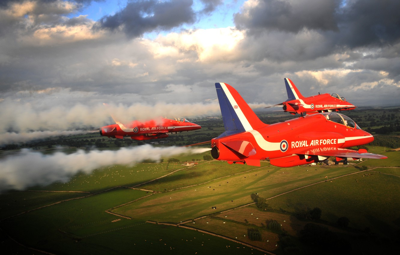 Photo wallpaper Flying, Red Arrows, BaE Hawk, Aerobatic, Formation Flying