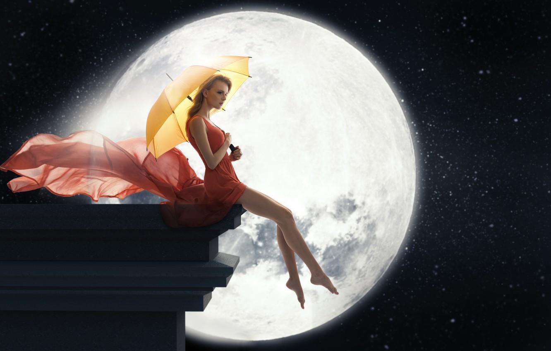 Photo wallpaper face, the moon, woman, Girls