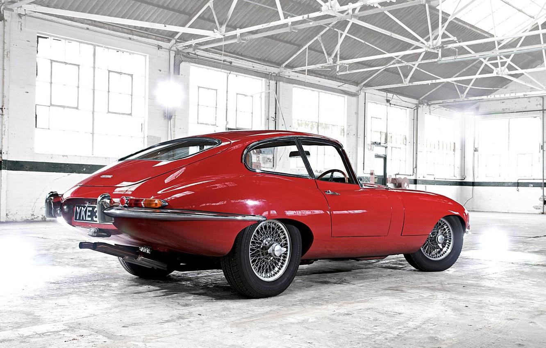 Photo wallpaper red, Jaguar, garage, Retro, E-Type