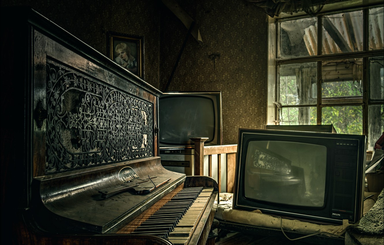 Photo wallpaper room, piano, Piano and TV