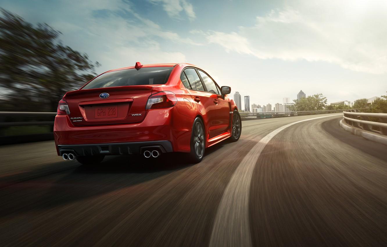 Photo wallpaper Road, Red, Subaru, WRX, Red, Road, 2014