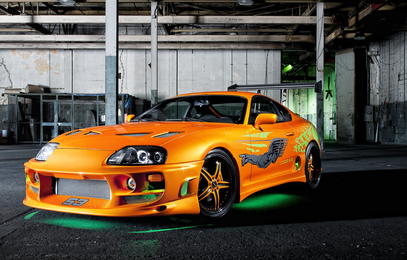 Photo wallpaper tuning, garage, backlight, vinyl, Toyota, tuning, Supra, stickers, oranzhevy, the fast and the furious, Fast …