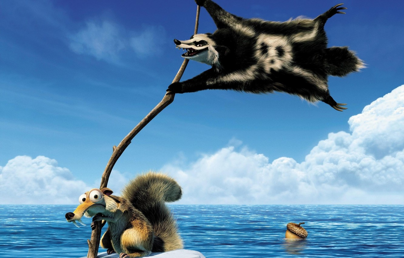 Photo wallpaper Sea, Ice, Ice Age, Fangs, Protein, Wolverine, Ice Age, Acorn, Tail, Frame, Hanging