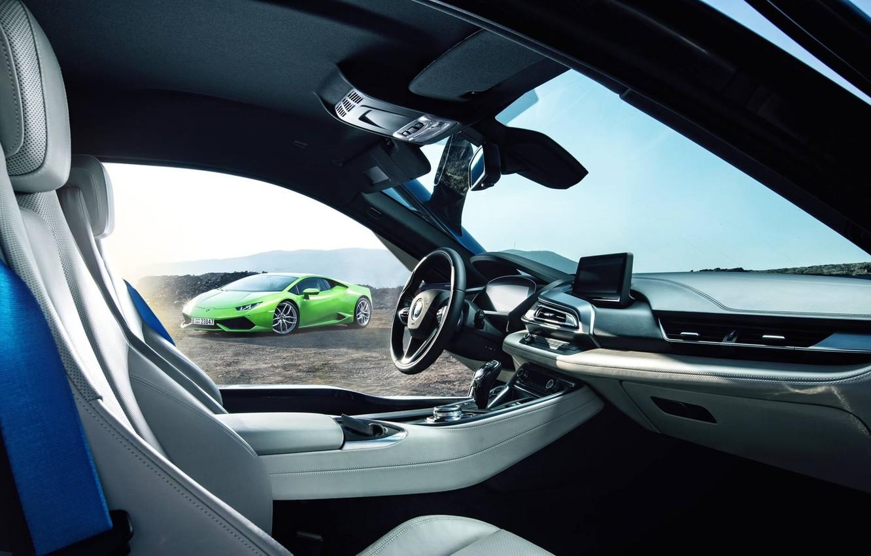 Photo wallpaper Lamborghini, BMW, Green, Supercars, Huracan, Salon