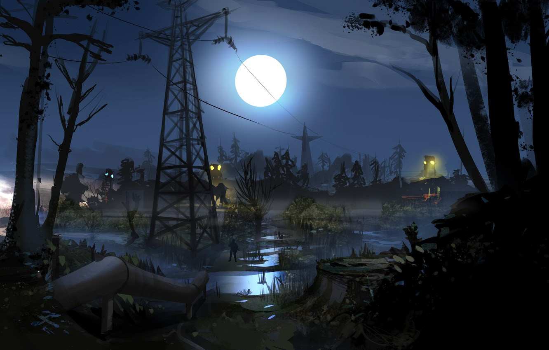 Photo wallpaper night, pipe, the moon, swamp, soldiers, Stalker, area, Ukraine, STALKER 2