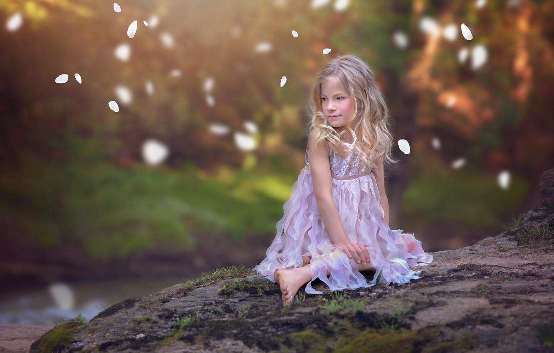 Photo wallpaper mood, petals, dress, girl, bokeh