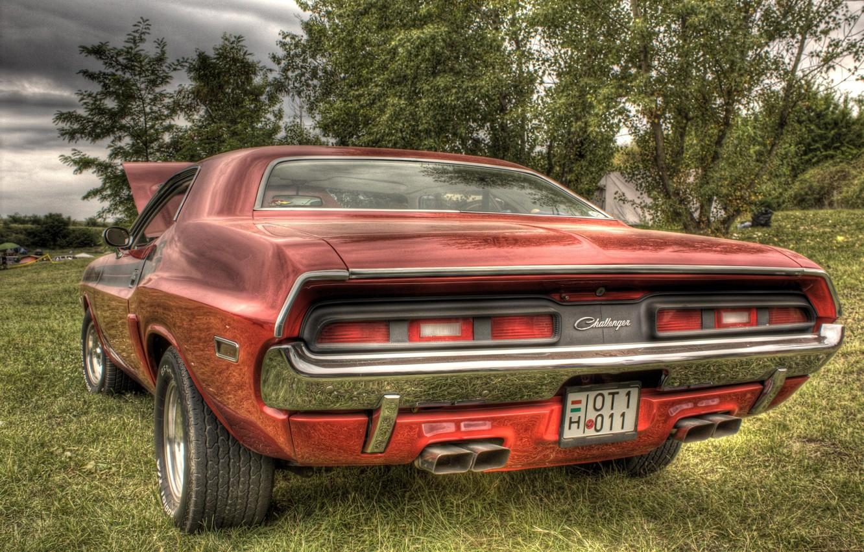 Photo wallpaper car, Dodge, challenger, power, r/t, orange, musclecar