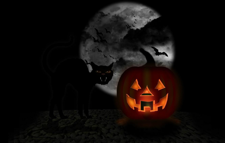 Wallpaper Darkness Mouth Bat The Full Moon Black Cat Happy Halloween Jack Images For Desktop Section Prazdniki Download