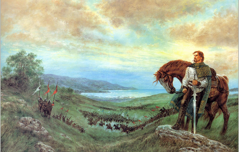 Photo wallpaper horse, picture, warrior, battle, The Last Prince of Ireland, slashing, Luis Roy