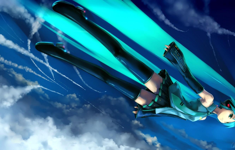 Photo wallpaper the sky, clouds, trail, Hatsune Miku, flies, Vocaloid