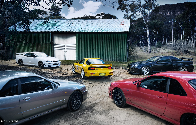 Photo wallpaper Mazda, Nissan, Mazda, RX-7, R34, GT-R V.spec N1, GTt, GT-R V.spec II