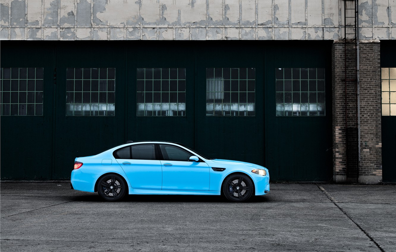 Photo wallpaper BMW, Tuning, Boomer, BMW, Blue, Tuning, F10, WHEELS, 5 Series, Side, Bimmer, Olympic Blue, Beamer