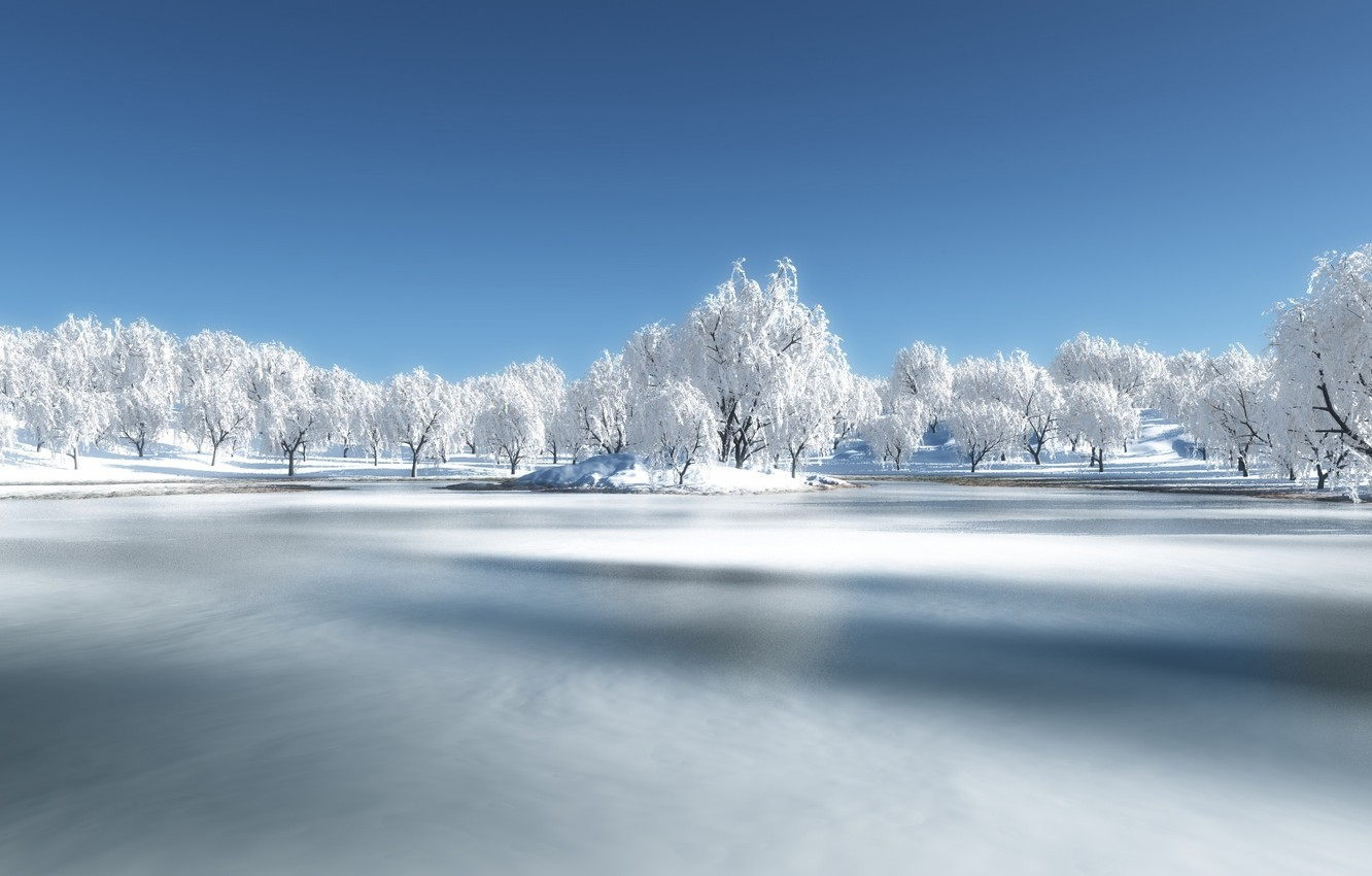 Photo wallpaper winter, forest, snow, river