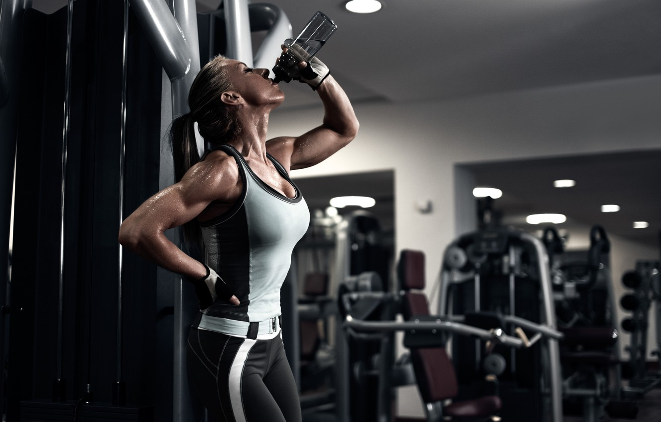 Photo wallpaper muscles, pose, fitness, perspiration, physical activity, rehydrated