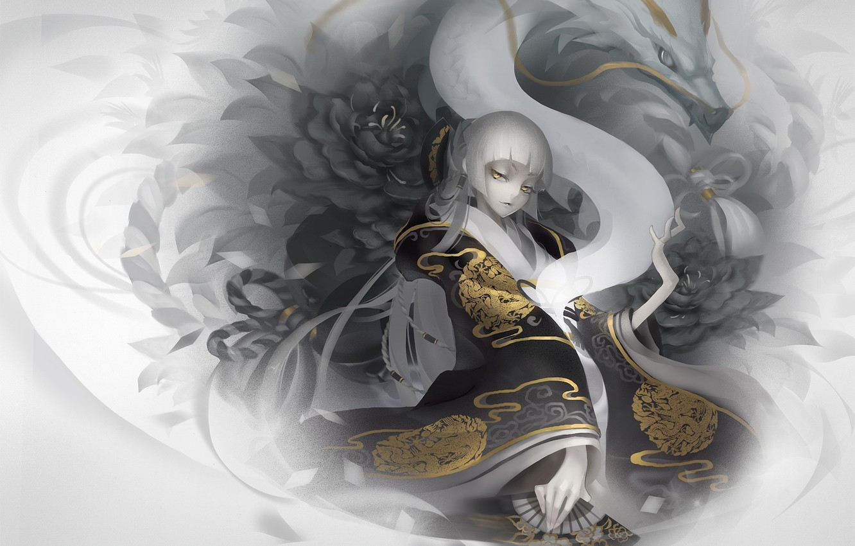 Photo wallpaper girl, flowers, abstraction, pattern, dragon, fan, art, kimono, monono