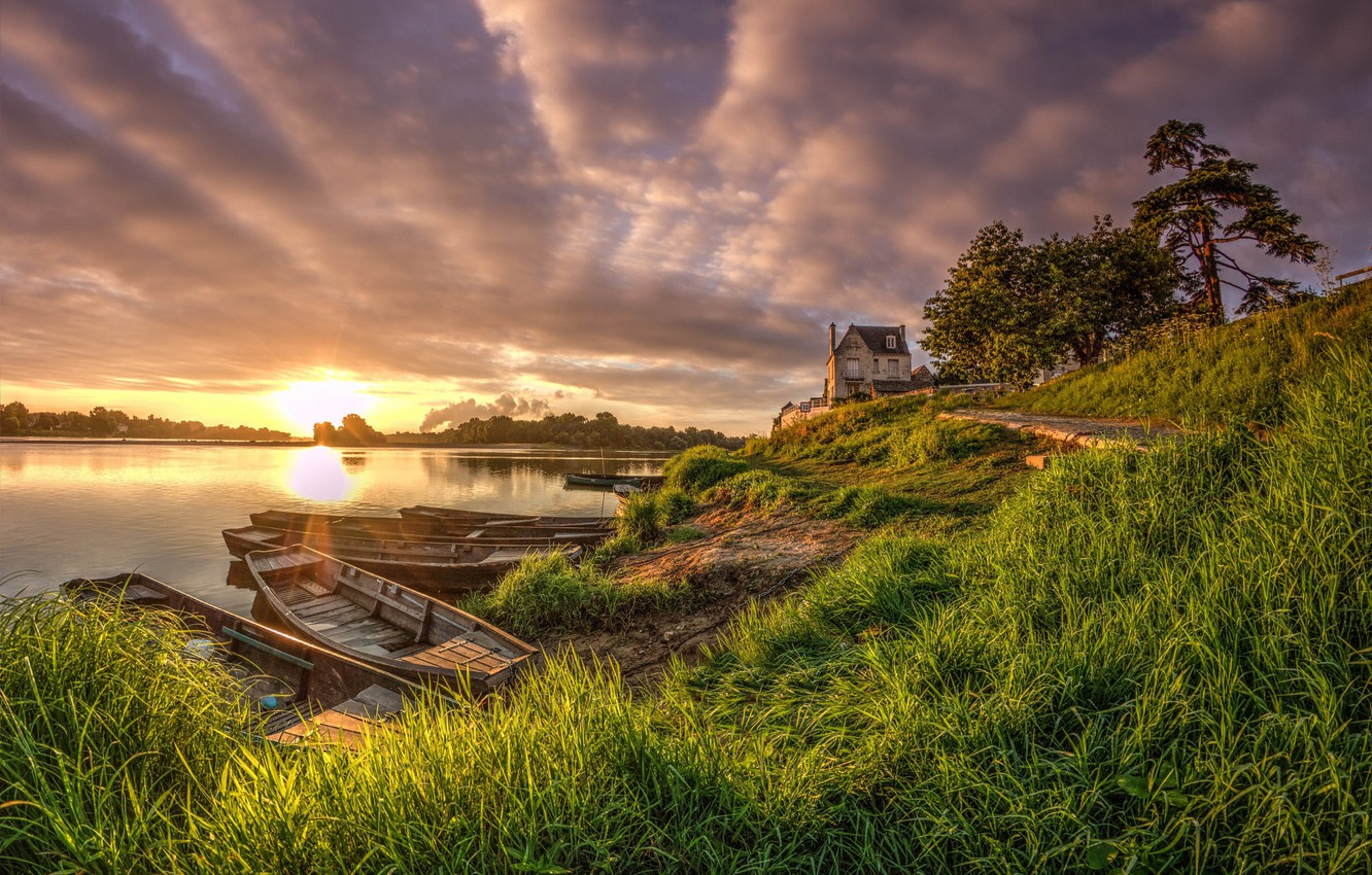 Photo wallpaper summer, the sky, grass, the sun, clouds, trees, house, river, dawn, shore, boats