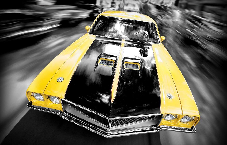 Photo wallpaper Yellow, Machine, Speed